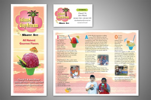 island Daydream shave ice brochure and business card