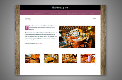 huckleberry inn wordpress website inside page