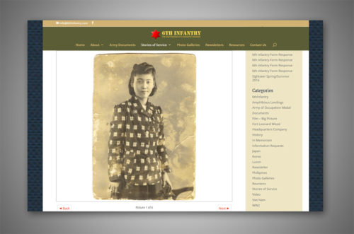 6th infantry website inside page
