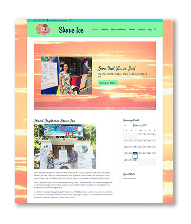 Island Daydream Shave Ice Website